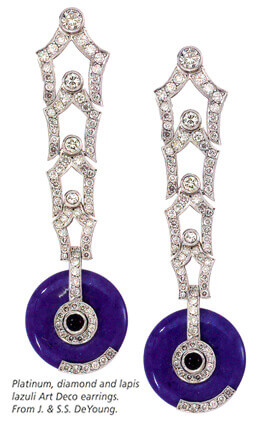 Diamonds and Lapis Art Deco drop earrings
