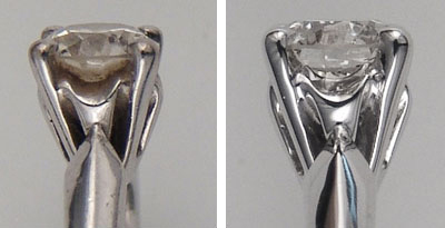 Picture of diamond ring before and after cleaning