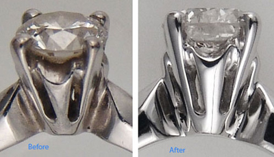 Picture of diamond before and after cleaning, side view