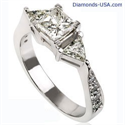 Picture of 3 stone diamond ring with triangle sides