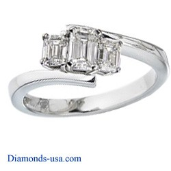 Embracing emerald cut three stone ring