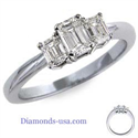 Picture of Emerald cut three diamond ring