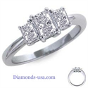 Picture of Radiant cut three stone engagement ring