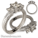 Picture of Three Princess diamond ring,hand engraved