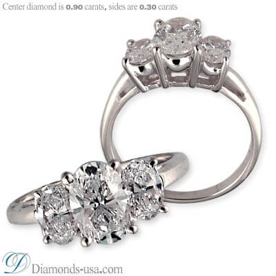 Three stones oval diamond ring,shared prongs