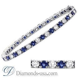 Tennis Bracelet with round diamonds and Sapphires