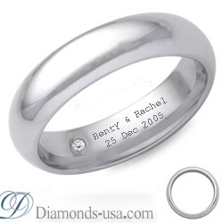 Diamond and inscription wedding ring-4.7mm