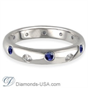 Picture of Diamonds & Blue Sapphires wedding ring, 3.7mm.
