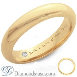 Diamond and inscription wedding ring-3.7mm