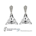 Picture of Stud and drop Triangle diamond earrings-settings