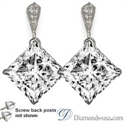 Picture of Stud and drop Princess diamond earrings