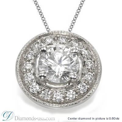 Halo Pendant for rounds with surrounding diamonds