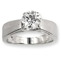 Picture of Wide band solitaire diamond engagement ring