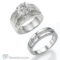 Bridal rings set with 2.40 carats Princess diamonds