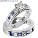 Picture of Bridal rings set, Princess diamonds & Sapphires