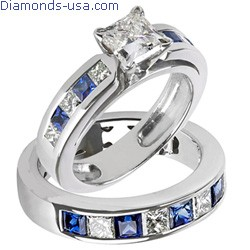Bridal rings set, Princess diamonds & Sapphires