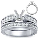 Picture of Bridal rings set, sides 1 carat round diamonds