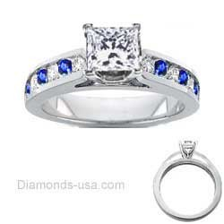 Round Diamonds and Sapphires bridal rings set