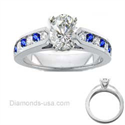 Picture of Round Diamonds and Sapphires bridal rings set