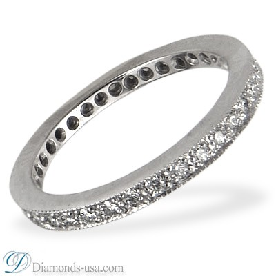 Delicate bridal rings set with round diamonds