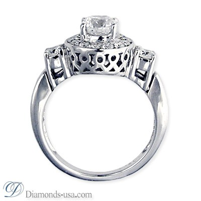 Designers engagement ring with side diamonds