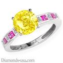 Picture of Diamonds & pink Sapphires engagement ring