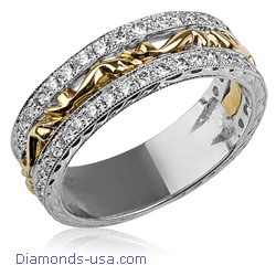 Art Deco wedding ring set with round diamonds