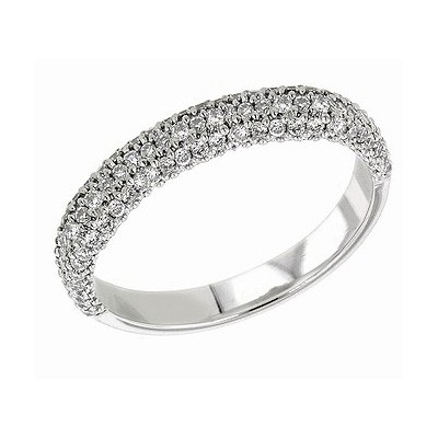 Three rows diamond wedding or anniversary band