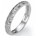Picture of Hand engraved leaves motif matching wedding band