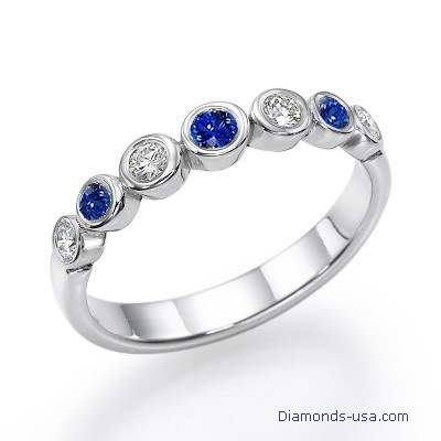 Seven Diamonds & Sapphires wedding ring