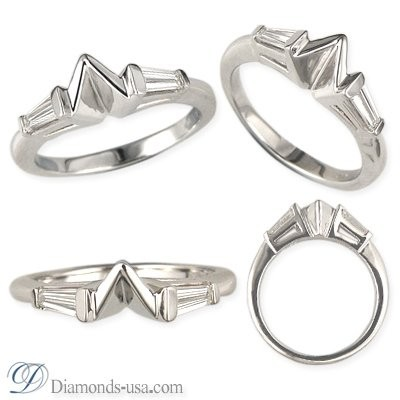 Wedding ring  with Tapered Baguettes Diamonds