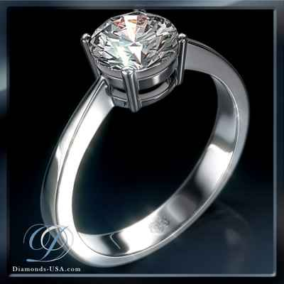 Low profile solitaire engagement ring settings