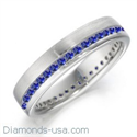 Picture of Royal Blue Round sapphires weddind band