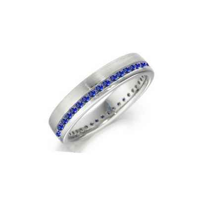 Royal Blue Round sapphires weddind band