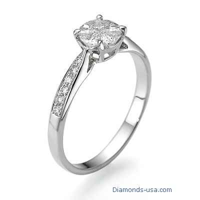 1 carat look engagement ring with side diamonds