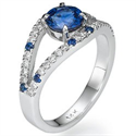 Picture of Round Royal Blue Sapphire designers ring