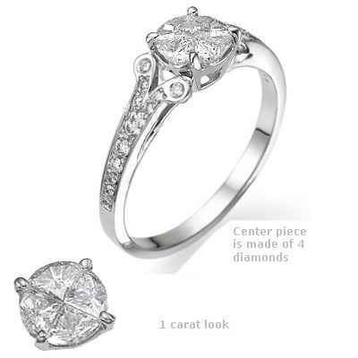 1 carat look in engagement ring