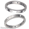 Picture of Flat surface diamond wedding ring, 3mm.
