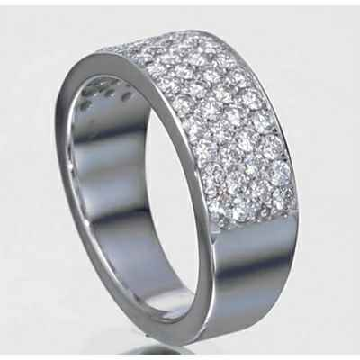 1 carats 4 diamond rows Pave set wedding ring