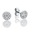 Picture of Halo diamond earrings, 0.25 Cts side diamonds