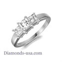 Picture of Three Princess stones diamond ring