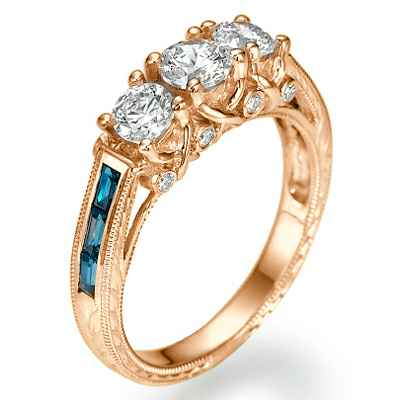 Three diamonds Vintage style ring