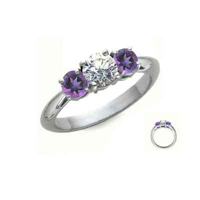 Amethyst sides, three stones engagement ring
