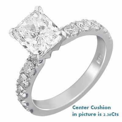 Engagement ring for large diamonds, 1 cts side diamonds