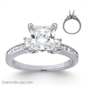 Picture of 0.80 cts side princess diamonds engagement ring