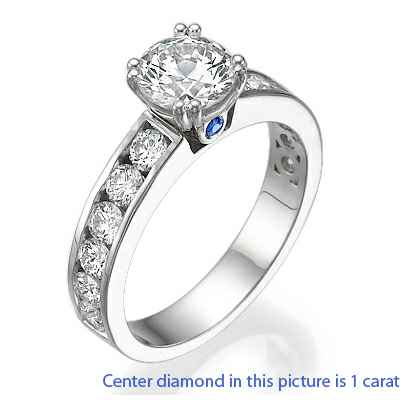 Engagement and wedding rings, 2.08 Cts side diamonds