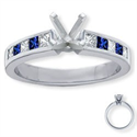 Picture of Engagement ring, accent Sapphires & Diamonds