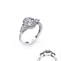 Picture of Engagement ring, 2 Pear diamonds, Pave set band