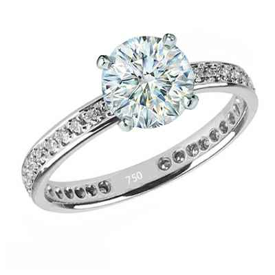 Eternity Engagement ring, 1/3 ct side diamonds