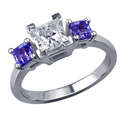 Picture of Tanzanite sides three stones engagement ring